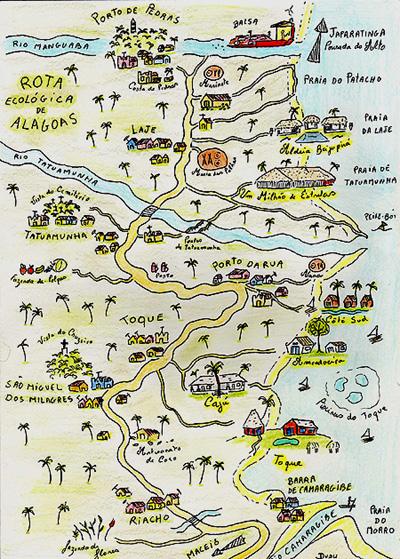 O lindo mapa é de autoria de Dudu Cavalcante, desenhado quando ele era um dos sócios da Pousada do Caju.